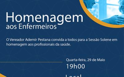 ENFERMEIROS SERÃO HOMENAGEADOS NA CÂMARA